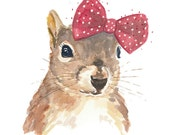 Squirrel Watercolour PRINT - 5x7 Watercolor Print, Squirrel Wearing a Bow, Nursery Art
