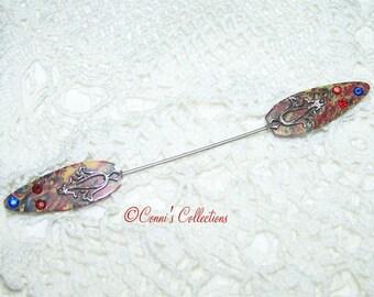 Vintage Stick Pin Hat Pin Art Deco 20s 30s Style Lucite Marble Rhinestone Rare