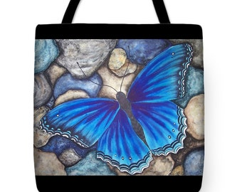 Tote Bag with Blue Butterfly Watercolor Painting- Wearable Art Gifts Royal Blue Butterfly Bright Colors Purse Carryall Art Supply Bag