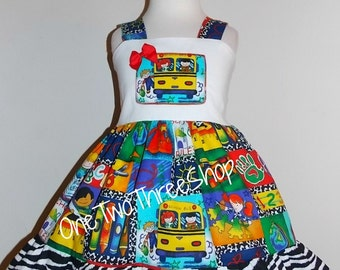 Custom Boutique Clothing Back to School girl Jumper  Dress
