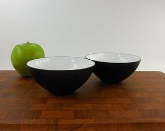 """2 Krenit Denmark Snack 5"""" Bowls - Danish Modern 1950s - White Black"""