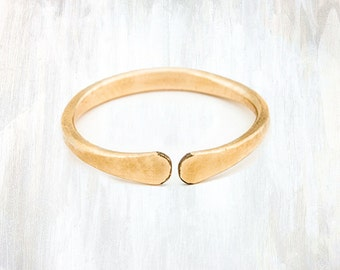 Gold and Rose Gold Open Stacking Ring, Thick Forged Ring
