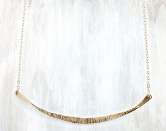 Textured Gold and Silver Bar Necklace on Gold Chain, Galena Necklace