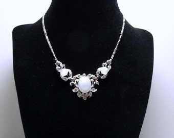 Signed Coro Moonstone Necklace with Clear Crystal Rhinestones in Silvertone Setting