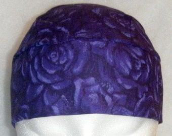 Purple Roses Chemo Cap or Skull Cap, Hat, Do Rag, Helmet liner, Head Wrap, Motorcycle, Bald, Hair Loss, Women, Girls, Surgical Cap, Men