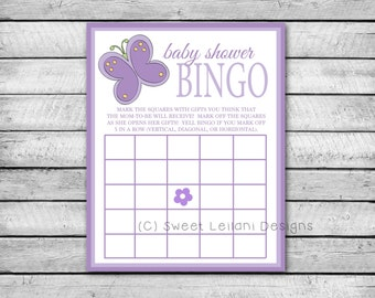 Baby Shower Bingo | Purple Butterfly | Instant Download | DIY Printable | Baby Shower Game