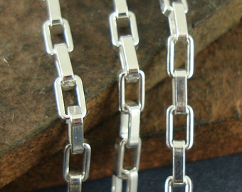 Silver Box Chain, Sterling Silver Box Chain, Heavy Chain, Long Box Chain, 2.6mm x 4.5mm - Sold by the Foot