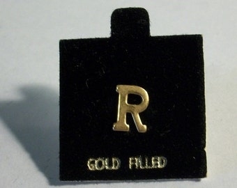 Vintage Letter R Initial R on Flocked Card Marked Gold Filled Earrings Scatter Pin