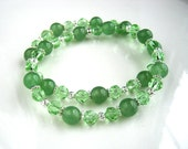 Jade Green Stretch Bracelet Silver Filigree Jade Green Crystal Bracelet