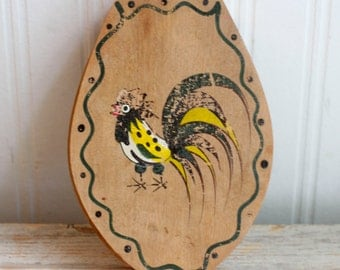 Wood Vintage Hamburger Press, Vintage, Dutch kitchen, Handpainted Rooster, Rustic Primitive Home, Country Kitchen, Fathers Day Gift