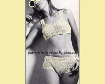 Vintage Knitted knitting 60s Bikini Pattern PDF 759 from WonkyZebra