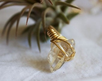 Tumbled Quartz Wire Wrapped Ring