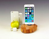Charging station for ANY iPhone including 6 and 6 plus.. Includes wall charger. 727. Reclaimed log slice. Live edge. FAST shipping.