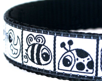 Black White Garden Creatures Dog Collar / Adjustable Dog Collar/ European Ribbon Collar
