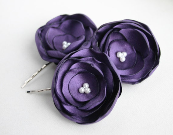 Purple Bridesmaid Hairpiece, Flower Girl Hair pins, Bridal Flower Hair Clips, Purple Wedding Flower Hair piece, Flower Hairpieces, Bridal
