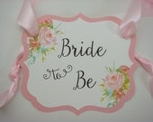 Bride to Be Chair Sign Water Color Rose Design to compliment your wedding shower decor