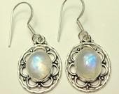 Moonstone Earrings,Rainbow Moonstone,Vintage Sterling Silver Filigree, Blue Flash, Moon Drop Earrings,Silver French Wires