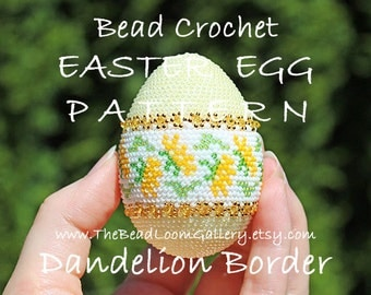 Easter Egg Pattern - Dandelion Border - Crochet PDF File TUTORIAL - Vol.16 with Swarovski Crystals