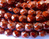 50 Czech Glass Fire Polish  in  a Rust Snake Beads in size 6mm Round