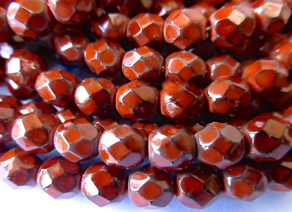 100 Czech Glass Fire Polish  in  a Rust Snake Beads in size 6mm Round