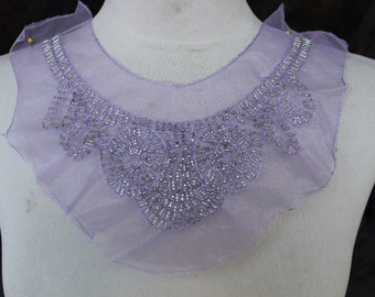 Cute embroidered  and beaded  applique  lavender  color  1 pieces listing