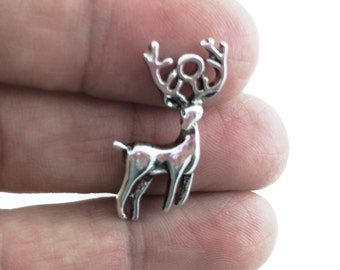 4pcs Stag Deer Charm - Antique Silver Buck Pendant - Miniature Woodland Animal Charms -Men Jewelry Supply Forest Hunter Gift For Her Him J20