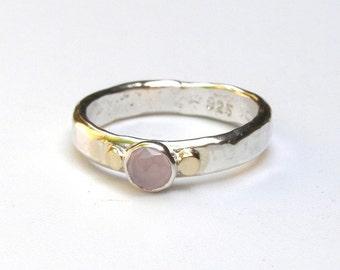Stacking ring ,gemstone Pink ,Rose quartz, silver ring, Promise Rings , Birthstone ring , engagement ring