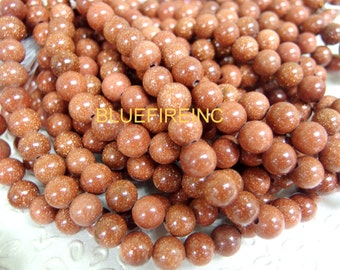 8 inch Large Hole Gold Stone 10mm round with 2mm Drilled hole