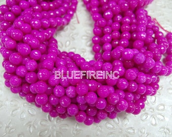 46 pcs beads 8mm round faceted dyed jade in  Fuchsia color