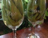 Special occasion - Personalized Hand Engraved Celebration Glass - Bouncy Name Casual - White Wine Glass with custom engraving
