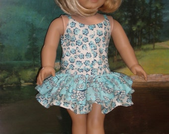 Aqua Cropped Top & Ruffled Skirt 18 inch doll clothes
