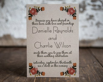 Floral Wedding Invitation, Fall Wedding Invitation, Rustic Floral Invitation- Bouquet Wedding Suite : A7 Wedding Invitations