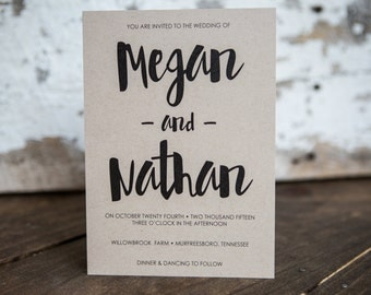 Wedding Invitation, Script Wedding Invitation, Painted Invitation, Rustic Invitation- Script Wedding Suite : A7 Wedding Invitations