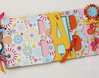Baby scrapbook album, baby girl, premade scrapbook, word chipboard album, baby shower gift, newborn, bright colors -BG34