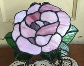 Stained Glass Window Decor Pink Rose