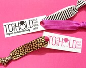 Single or Double Set 1 card Hair Ties Bachelorette Party Favors Accessories Small Gift  Her Bridesmaids Leopard Print Glitter Hot Pink Black