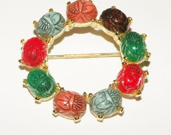 Multi Colored Colorful Scarab Brooch or pin