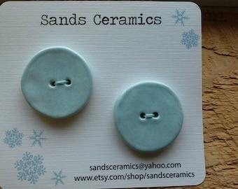 Ceramic Button Round soft blue