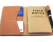 Hand-Stitched Leather cover for Small Field Notes with a pen loop and card slots