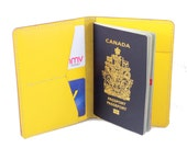 Hand-stitched Passport Leather cover in YELLOW (Free Monogram)