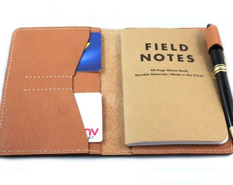 Hand-Stitched Leather cover for Field Notes - Moleskine pocket size with a pen loop and card slots