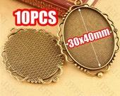 10 Pendant Trays-  Antique Bronzed Tone 30x40mm Filigree Frame Oval Bezel Setting W/ Ring- HA3724