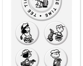 Peanuts Golf Club Stamps - Switchable Middle Stamps, Clear Stamps, Golfing, Tee Time, Snoopy, Charlie Brown, Lucy, Marcie, Caddy