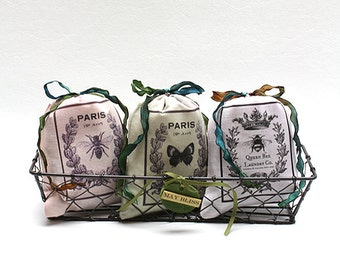 Three French Sachet in Wire Tray(French Insect)
