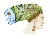 Hare Headdress Print of woman with Summer Dreaming Headdress 8x11 giclee print