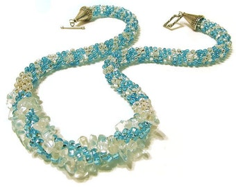 Ice Lady - Statement Jewelry - The Ice Queen - Rope Necklace - Beaded Crochet Necklace - Snowqueen - Crochet Jewelry - Bead Necklaces
