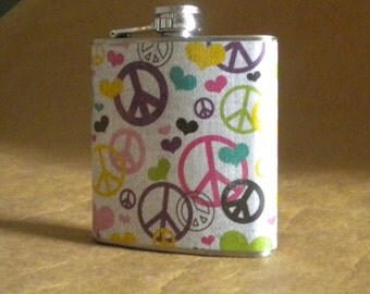 Retro Fun Gift Flask Multi Colored Peace Signs and Hearts Print 6 ounce Stainless Steel Flask KR2D 7800