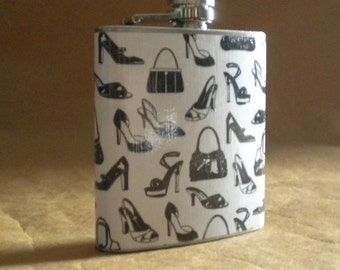 Fashionable Black and White Shoes and Purses Print 6 ounce Stainless Steel Girl Sale Flask KR2D 7802