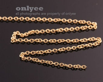 1Meter(1yd)-1.7mm x 1.5mm Bright Gold flat cable chains deilcate fine chains / jewelry making necklaces(N137G)