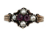 Art Nouveau Pink Sapphire Pearl Antique Ring 18 Kt Rose Gold Ring Size 7!